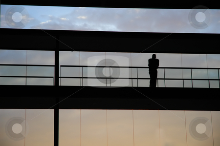 Silhouette stock photo, Young business man in the office building by Rui Vale de Sousa
