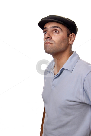 Wondering stock photo, Casual man portrait with hat in white background by Rui Vale de Sousa