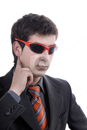 Sunglasses stock photo, Silly young man portrait with sunglasses isolated on white by Rui Vale de Sousa
