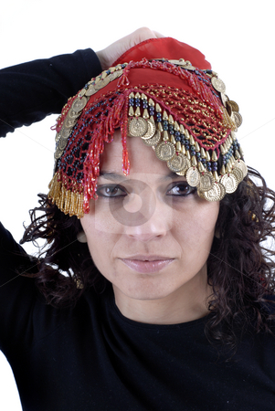 Girl stock photo, Young girl portrait with a arab stap by Rui Vale de Sousa