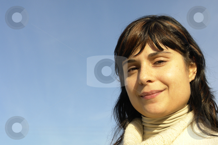 Woman stock photo, Woman portrait with the sky as background by Rui Vale de Sousa