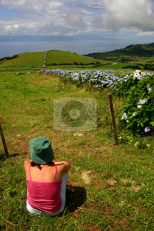 Relax stock photo, Woman on the azores fields by Rui Vale de Sousa