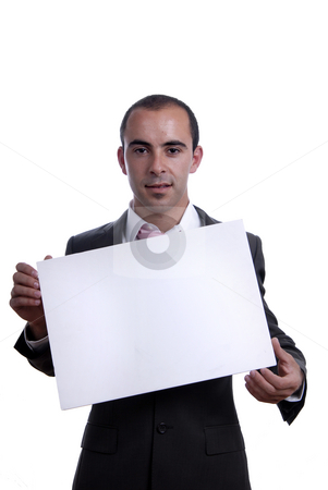 White card stock photo, Business man with an empty white card by Rui Vale de Sousa