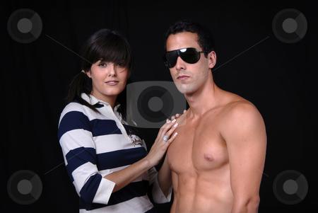 Casual stock photo, Young casual couple portrait in studio shot by Rui Vale de Sousa