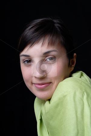 Portrait stock photo, Portrait of a girl smiling on black background by Rui Vale de Sousa