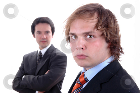 Business men stock photo, Two young business men portrait on white. focus on the right man by Rui Vale de Sousa