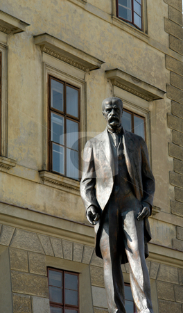 Bohemia stock photo, Statue with a house as background in prague by Rui Vale de Sousa