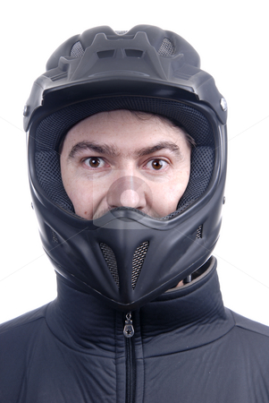 Helmet stock photo, Young man with a motorcycle black helmet by Rui Vale de Sousa