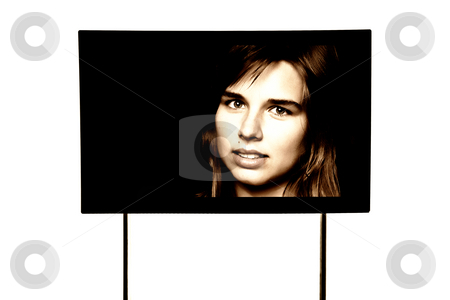 Screen stock photo, Young woman portrait in a modern television, isolated by Rui Vale de Sousa