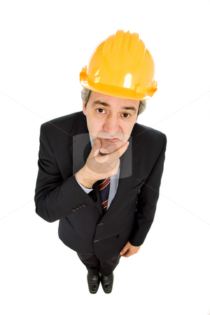 Wondering stock photo, An engineer with yellow hat, isolated on white by Rui Vale de Sousa