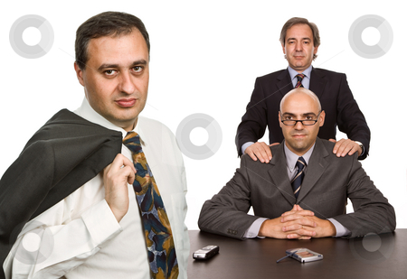 Team stock photo, Business team working in a desk, isolated on white by Rui Vale de Sousa