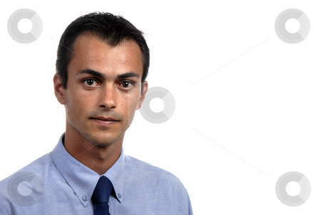 Portrait stock photo, Portrait of young man isolated on white by Rui Vale de Sousa