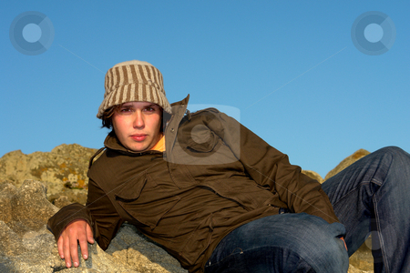 Hat man stock photo, Relaxed young man portrait outdoor with a hat by Rui Vale de Sousa