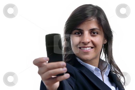 Woman with camera phone stock photo, Young business woman on the phone isolated on white by Rui Vale de Sousa