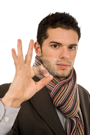 Victory stock photo, Successful business man showing three fingers isolated on white by Rui Vale de Sousa