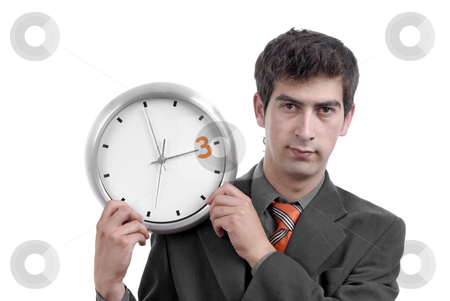 Clock stock photo, Business man with clock on white background by Rui Vale de Sousa