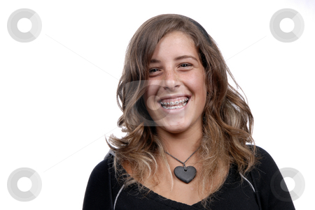 Laugh stock photo, Young attractive woman smiling, over white background by Rui Vale de Sousa