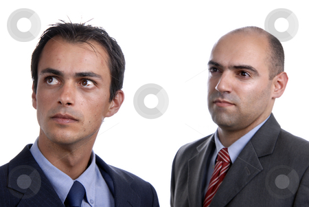 Guys stock photo, Two young business men portrait on white. focus on the left man by Rui Vale de Sousa