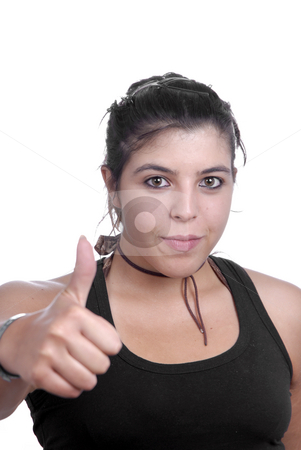 Thumb up stock photo, Young woman on white with thumb up by Rui Vale de Sousa