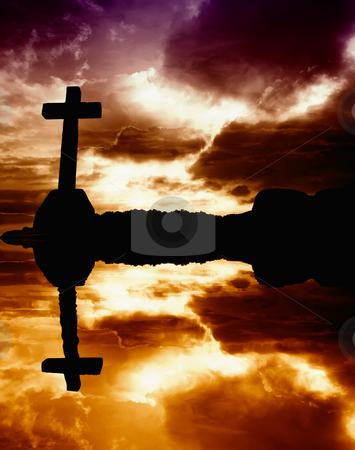 Cross stock photo, Cross silhouette and the clouds at sunset, with reflection by Rui Vale de Sousa
