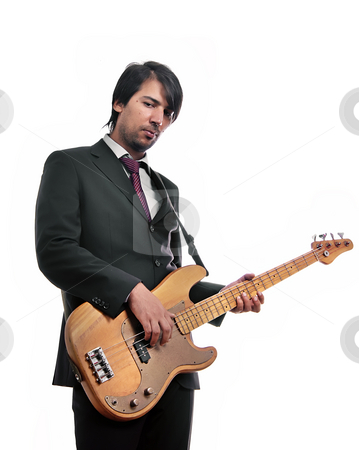 Music stock photo, Young guitar man isolated on white background by Rui Vale de Sousa