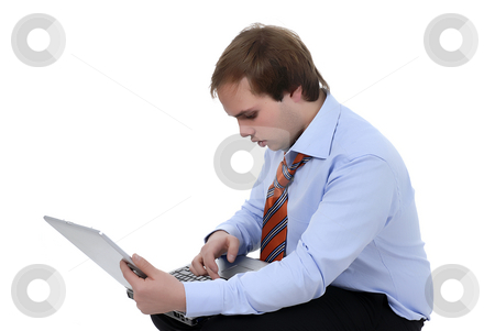 Work stock photo, Man working with computer in a white background by Rui Vale de Sousa