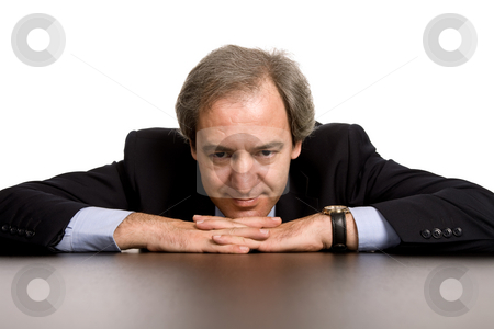 Smile stock photo, Mature business man on a desk, isolated on white by Rui Vale de Sousa