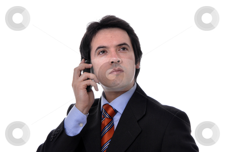 On the phone stock photo, Young man on the phone in white background by Rui Vale de Sousa