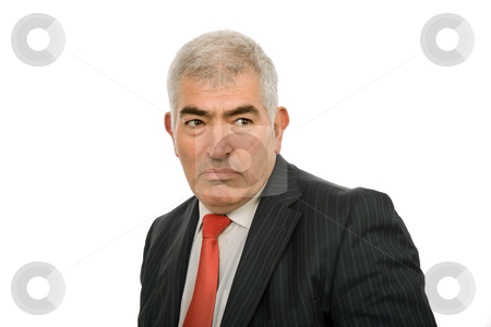 Looking stock photo, Mature business man portrait in white background by Rui Vale de Sousa