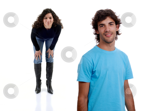 Couple stock photo, Young couple together portrait isolated on white by Rui Vale de Sousa