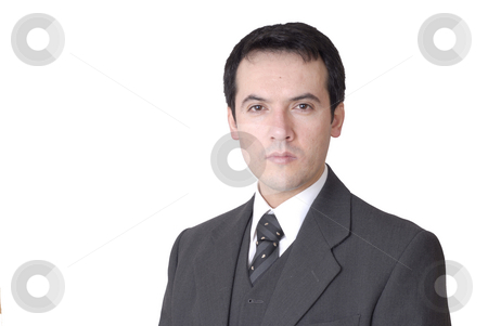 Calm stock photo, Young business man portrait in white background by Rui Vale de Sousa