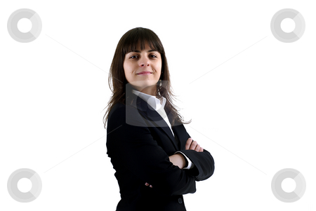 Girl stock photo, Young business woman portrait in white background by Rui Vale de Sousa