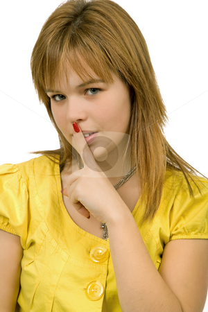 Shut up stock photo, Young blonde woman going shut up, isolated by Rui Vale de Sousa
