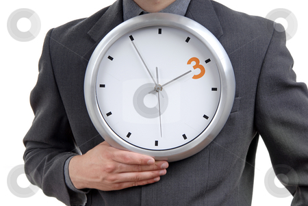 Clock stock photo, Business man wearing suit holding clock detail by Rui Vale de Sousa