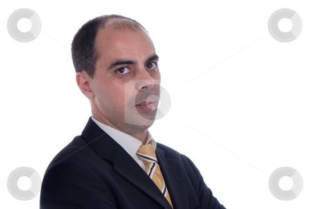 Serious stock photo, Serious business man portrait on white background by Rui Vale de Sousa