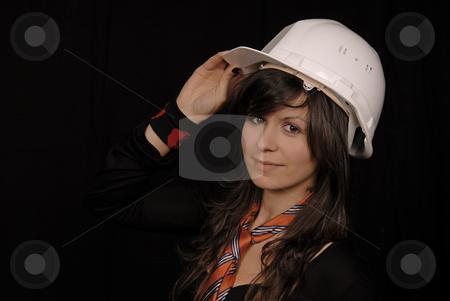 Helmet stock photo, Young beautiful woman portrait on black background by Rui Vale de Sousa