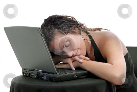 Sleeping stock photo, Young woman sleeping on the laptop, isolated by Rui Vale de Sousa