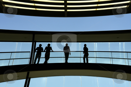 Workers stock photo, Workers inside the modern building in silhouette by Rui Vale de Sousa