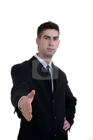 Offering stock photo, Young man offering hand in white background by Rui Vale de Sousa
