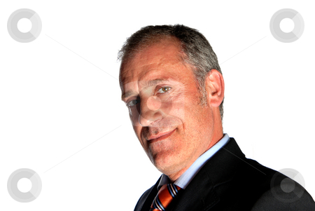 Smile stock photo, Business man full of thoughts - isolated over a white background by Rui Vale de Sousa