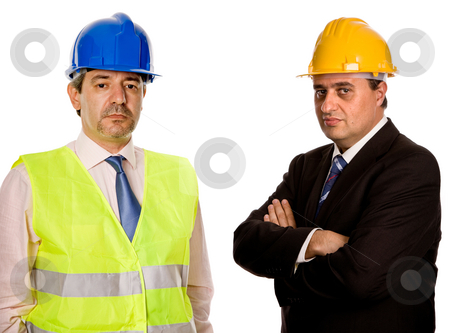 Workers stock photo, Two workers isolated in a white background by Rui Vale de Sousa
