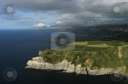 Coast stock photo, Azores coast and fields by Rui Vale de Sousa