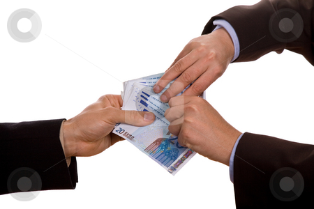 Money stock photo, Person takes money from another person, isolated on white by Rui Vale de Sousa