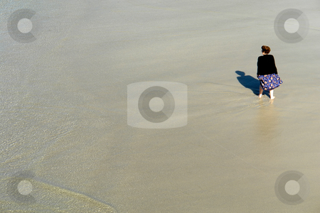 Wet stock photo, Old woman at the beach in the south of portugal by Rui Vale de Sousa