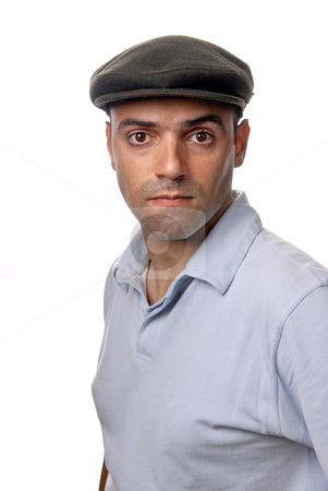 Casual stock photo, Casual man portrait with hat in white background by Rui Vale de Sousa