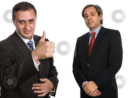 Thumb up stock photo, Two mature business men isolated on white by Rui Vale de Sousa