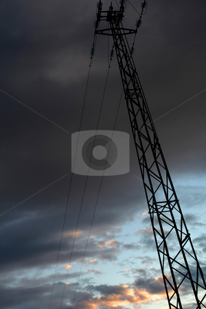 Power stock photo, Electrical Tower and Powerlines at Dark Red Sunset by Rui Vale de Sousa