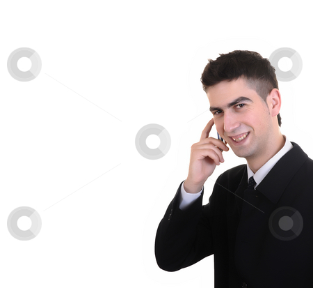 Call stock photo, Business man with mobile over white background by Rui Vale de Sousa