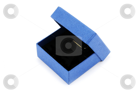 Blue Jewellery Presentation Box stock photo, Small blue gift box for presenting jewellery items such as earrings or pendants by Helen Shorey