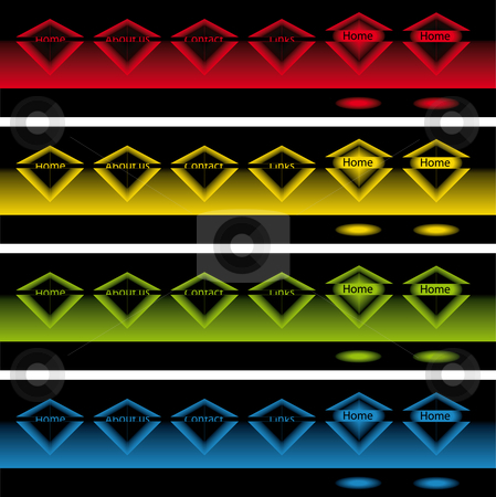Glowing diamond pop up buttons in the dark stock vector clipart, Banners of glowing diamonds pop up buttons in the dark for web use by Karin Claus